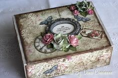 Altered Cigar Box and Quick Tutorial. Has idea for using modelling paste with stencils to accentuate the box.