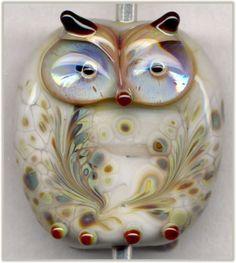 Pearl Gray Raku Owl Focal Handmade Glass Lampwork Bead Pendant SRA in Jewelry & Watches, Loose Beads, Lampwork Owl Jewelry, Jewellery, Owl Art, Handmade Beads, How To Make Beads, Lampwork Beads, Bead Art, Glass Art, Glass Beads