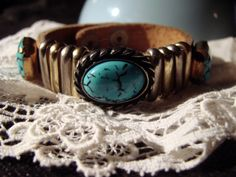 Vintage Leather Strap Turquoise Bracelet by AntiqueAlchemists, $10.00