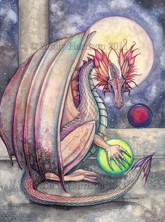 Dragon's Perch  Watercolor Art  Dragon Art  by MollyHarrisonArt