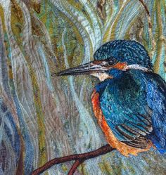 Machine embroidered #kingfisher by textile artist Rachel Wright