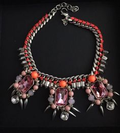 Authentic-Assad-Mounser-Crytal-And-Beads-Statement-Necklace