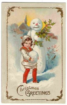Vintage 1914 snowman with girl postcard;
