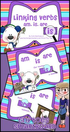 "A fun Winter/Polar Bear Theme to interactively teach Linking Verbs: am, is, are for Language Arts Grades 1, 2, or 3. This is a SMARTboard .notebook file. This particular lesson is great for science, too! (mammals, warm blooded) Aligned with Common Core Standards. EIGHT fun pages using the ""magic"" magnifying glass! Students make their choice, then move the magnifying glass over the answer space to reveal the correct answer. $"