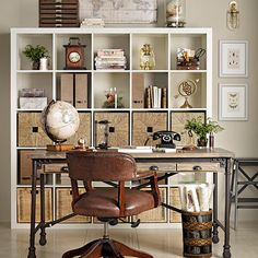 Traditional home office with leather chair | Home office decorating | Ideal Home | Housetohome.co.uk