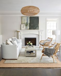 Living Room With Fireplace, Home Living Room, Living Room Decor, Small Living Room Layout, White Living Room Furniture, Decorating Small Living Room, Living Room Layouts, Small Living Room Designs, Den Furniture
