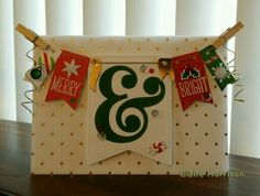 "Card by Claire Morrison : Merry & Bright card. Lawn Fawn Snow Day, Lawn Fawn Stitched Banners, My Mind's Eye Vellum, Lawn Fawn Joy to the Woods, Mr. Huey's Studio Calico Assorted Stencils ""&"". Card base is 110lb Neenah Classic Crest Solar White."