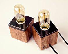 Small Table Night Lamps || Top-Filled || Epoxy Resin || Wood Lamp || Desk Lamp || Meranti Wood || Vintage Lamp || Decor || Edison Lamp