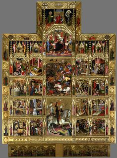 Retable of St George (detail)  c. 1400  Tempera on wood, 670 x 486 cm (full retable)  Victoria and Albert Museum, London -   Valencia  1410  -    http://collections.vam.ac.uk/item/O17807/altarpiece-of-st-george-oil-painting-master-of-the/