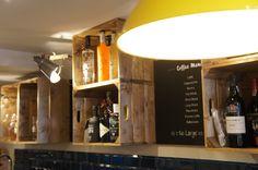 Pom's Kitchen & Deli - Crate storage back bar -  Sacha Interiors