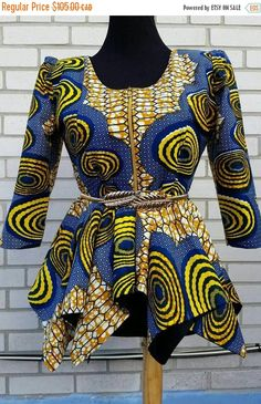 READY TO SHIP African women blouse Wax Print by JENNYROSSYCLOTHING