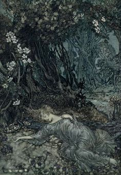 """Illustration for """"A Midsummer Night's Dream"""" by William Shakespeare  Illustrated by Arthur Rackham, published 1914"""