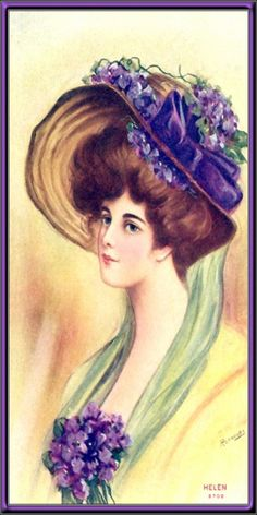 Items similar to Antique GIBSON GIRL Victorian Edwardian portrait postcard blank unused signed artist Sir Joshua Reynolds woman in hat Helen postcard on Etsy Vintage Hat Boxes, Vintage Paper, Vintage Hats, Victorian Art, Victorian Women, Vintage Signs, Vintage Images, Decoupage, Sweet Violets