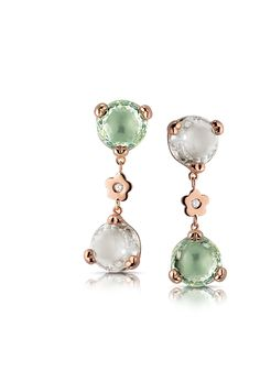 Pasquale Bruni Sissi Collection. Earrings in pink gold with pink milky quarzt, prasiolite and diamonds