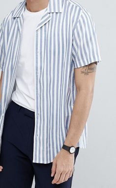On my wishlist : Only & Sons Striped Short Sleeve Shirt With Revere Collar from ASOS #ad #men #fashion #shopping #outfit #inspiration #style #streetstyle #fall #winter #spring #summer #clothes #accessories