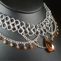 Crystal+Copper+Chain+Maille+Necklace++Swarovski+by+blackbirdmaille,+$65.00