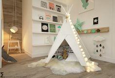 Ein beleuchtetes, weißes Tipi-Zelt mit einer kuscheligen Innenausstattung kann…