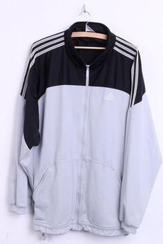 Adidas Mens XL Sweatshirt Tracksuit Top Grey Black Sport 3 Stripes - RetrospectClothes