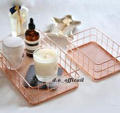 Elegant Rose Gold Storage Basket