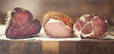 Charcuterie muscle meats in a row. BRESAOLA | COPPA & LOMO