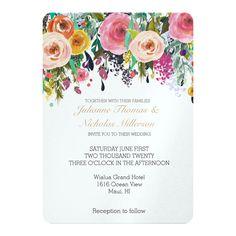bright modern floral wedding invitation from Zazzle