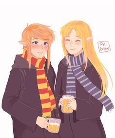 Master Link and Her Grace at the school for witchcraft and wizerdry. Quite cute.