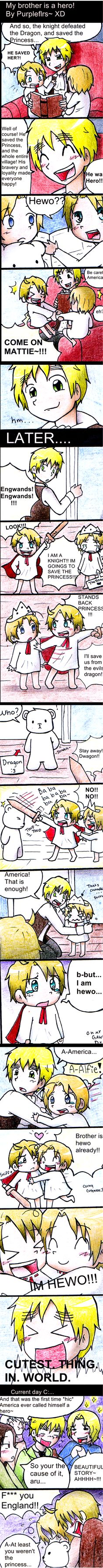 """My brother is a hero! by purpleflrs.deviantart.com on @deviantART - lol This is adorable - and really funny, too! """"At least you weren't the princess."""" Ah, Mattie, what would we do without you and your dry sense of humour? And little Alfred is just so cute!"""
