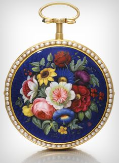 **Swiss, YELLOW GOLD, ENAMEL AND PEARL-SET OPEN-FACED QUARTER REPEATING WATCH WITH CENTRE SECONDS MADE FOR THE CHINESE MARKET CIRCA 1800