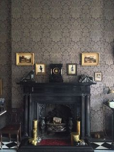 Antique Black Fireplace