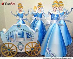 Cinderela e carruagem de papel (AlinePriscilla) Tags: art de fire centro castelo mesa aline priscilla cinderela personalizado carruagem lembrancinha