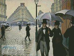 Artecy Cross Stitch. Paris Street,Rainy Day Cross Stitch Pattern to print online.