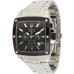 43b02333c32 Bulova mens marine star 98b105 stainless steel band black face