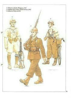 French Vichy colonial infantry uniforms - pin by Paolo Marzioli Ww2 Uniforms, Military Uniforms, Colonial, Indochine, East Africa, World War, Wwii, Weapons, Princess Zelda
