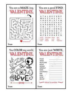 Kids Valentine cards for school. Valentines Word Search, Valentines Day Cards Diy, Valentine Words, Kinder Valentines, Valentine Crafts, Valentine Party, Valentine's Cards For Kids, Cards For Friends, Mazes For Kids