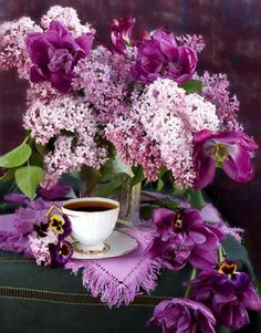 Lilacs, pansies and a cup of tea - LILACS alwys bring back the essence of SPRING and new beginnings - rebirth.