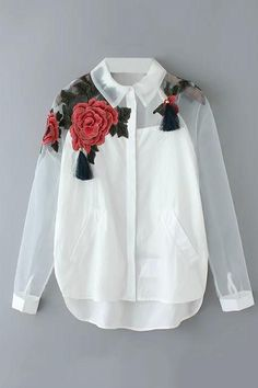 White Floral Embroidered Blouse from Shop Lucky Clothing. Saved to CLOTHES/SHOES .