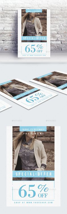 Buy Fashion Sale Flyer Template by byNAC on GraphicRiver. Features: - Easy editable text - CMYK @ 300 DPI – Print-ready - Size: + bleed - Free Fonts Used - Color variation. Fashion Sale, Fashion Fashion, Sale Flyer, Business Flyer Templates, Flyer Design, Print Design, Glamour, Shopping, Collection