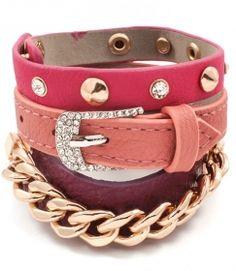 Jewel-tensity: Coral Pink Mauve Burgundy Stackable Slip On Snap Close Fashion Bracelet