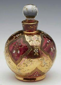 Superb Antique Bohemian Overlaid Gilded Cranberry Glass Scent Bottle 19th C