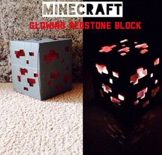 Minecraft Glowing Redstone Block: Super easy and uses stuff that you already have! Also a great geeky gift! Minecraft Redstone, Minecraft Toys, Cool Minecraft, Minecraft Crafts, Minecraft Party, Diy Furniture Decor, Minecraft Decorations, Toy House, Geek Crafts