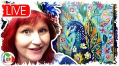 Live #2 Peacock and Flowers and Flowers abstract acrylic tutorial art le...
