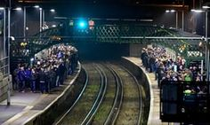 Fans at Falmer station after Brighton hosted Leeds in a night match last year. This season Leeds supporters have had a midweek Championship trip to Cardiff to contend with. Roy Keane, Cardiff, Leeds, Stand Up, Brighton, Fans, Football, Seasons, Night