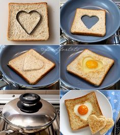 egg in a basket, egg in toast, heart-shaped egg in bread, valentine's day, food for … – Cook It Valentine's Day Food Valentines Day Food, Valentines Breakfast, Eggs In Bread, Eggs In A Basket, Egg Toast, Food Humor, Creative Food, Food Design, Baby Food Recipes