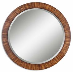 "This beautiful 36"" diameter mirror has a frame of lightly antiqued zebrano veneer with burnished edges. It would be stunning in an entry or powder room."