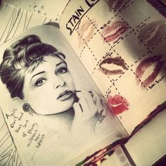 Wreck This Journal : Stain this page, very creative! Lipstick and beautiful drawing of Audrey Hepburn :3