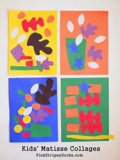 Pink Stripey Socks: Kids' Matisse Inspired Collages