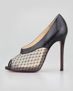 Christian Louboutin Resillana Lace-Net Peep-Toe Red-Sole Bootie