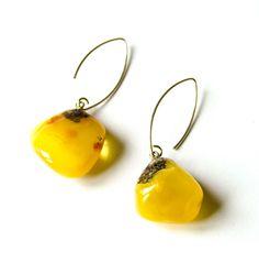 Amber  Earrings, Hängeohrringe, Sterling Silver 925, nugget, Yellow, butterscotch, Bernsteinohrringe, Silber, Bärnsten, ambre, Neu Handmade