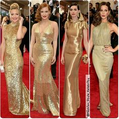 'ALL THAT GLITTERS IS GOLD'#KateHudson is wearing #MichaelKors and carrying an #EdieParker clutch.#JessicaChastain is wearing a #Givenchy #HauteCouture by #RiccardoTisci & #Piaget jewelry.#AnneHathaway is wearing a #RalphLauren dress #GiuseppeZanotti shoes #BenedettaBruzziches clutch, and #Repossi #jewels.#KateBeckinsale is wearing a #DianevonFürstenberg #dress, #ChristianLouboutin shoes, #LeeSavage #clutch, #CarrerayCarrera #earrings and #ring.... - Celebrity Fashion