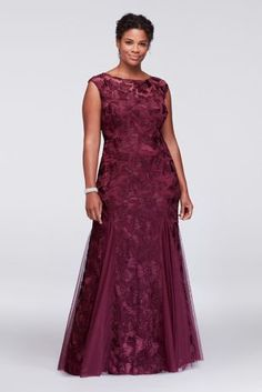 Topped with illusion cap sleeves, this gorgeous stretch tulle plus size evening gown features ornate floral embroidery and godet insets at the hemline for graceful movement. By Alex Evenings Polyester Back zipper; Mother Of The Bride Dresses Long, Prom Dresses Long With Sleeves, Mob Dresses, Tea Length Dresses, Fashion Dresses, Formal Dresses, Tunic Dresses, Hippie Dresses, Tulle Dress
